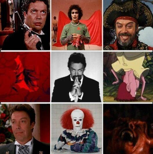 nostalgic pic of Tim Curry in different roles