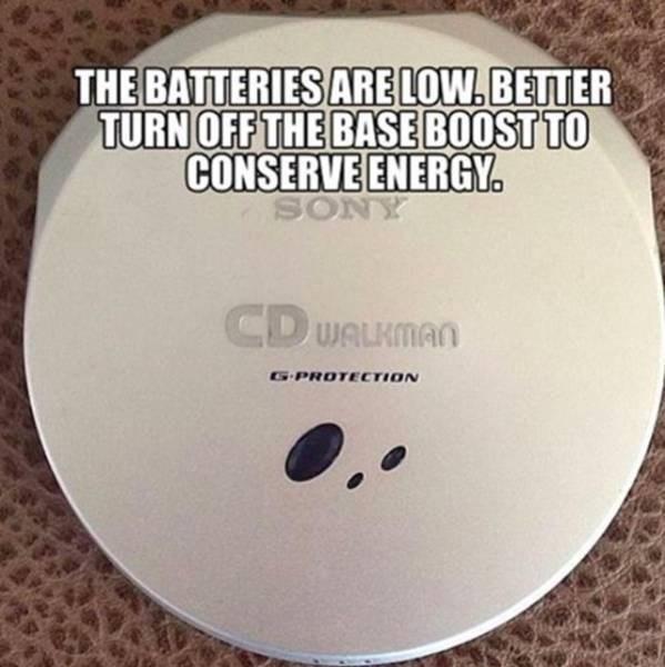 nostalgic meme about conserving power on a walkman