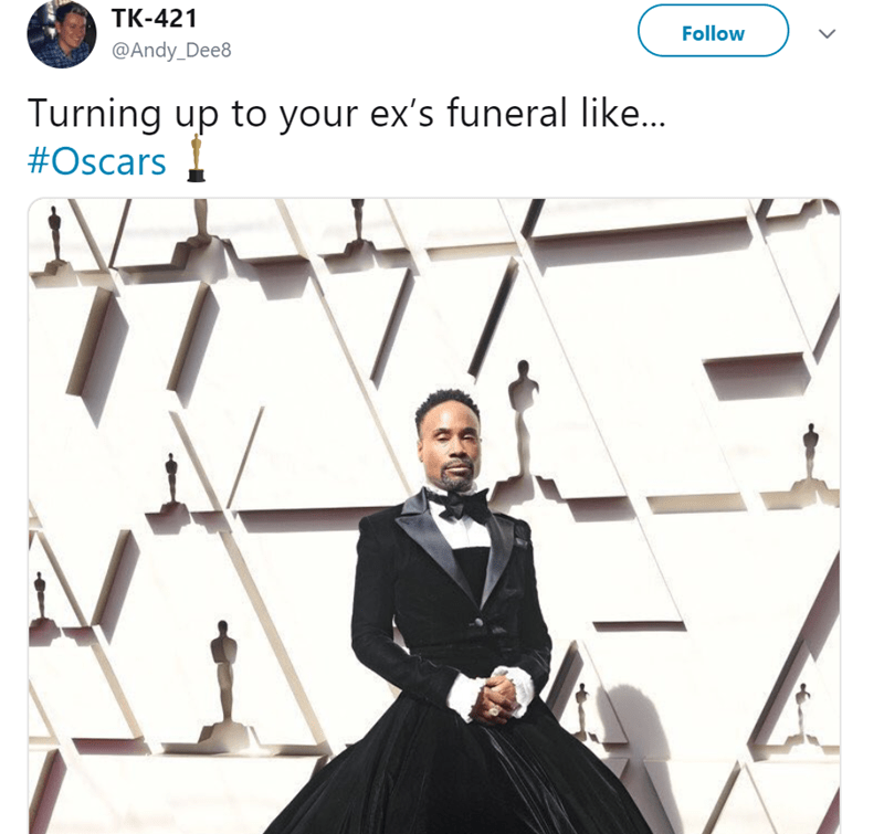 Line - TK-421 Follow @Andy_Dee8 Turning up to your ex's funeral like... #Oscars >