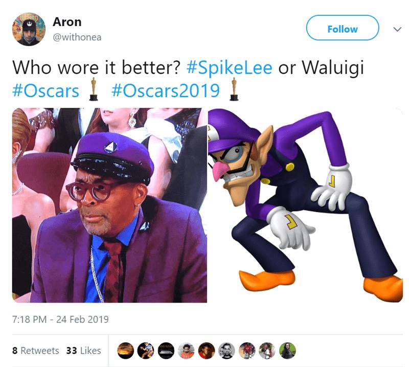 Purple - Aron Follow @withonea Who wore it better? #SpikeLee or Waluigi #Oscars #Oscars2019 7:18 PM 24 Feb 2019 - 8 Retweets 33 Likes