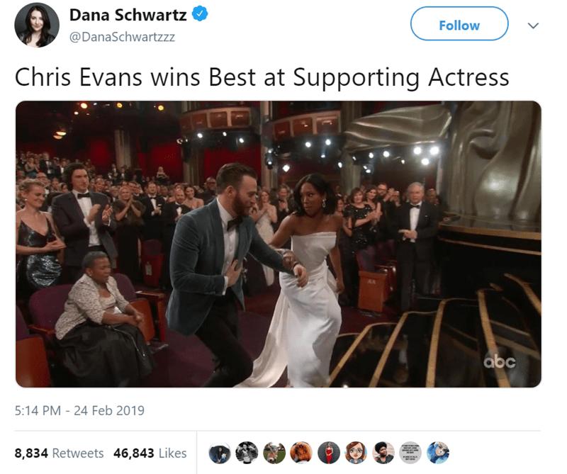 Photograph - Dana Schwartz Follow @DanaSchwartzzz Chris Evans wins Best at Supporting Actress abc 5:14 PM 24 Feb 2019 - 8,834 Retweets 46,843 Likes