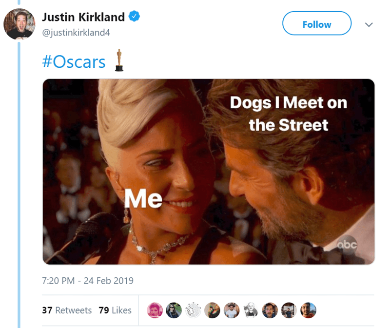 Face - Justin Kirkland Follow @justinkirkland4 #Oscars Dogs I Meet on the Street Me abc 7:20 PM 24 Feb 2019 37 Retweets 79 Likes