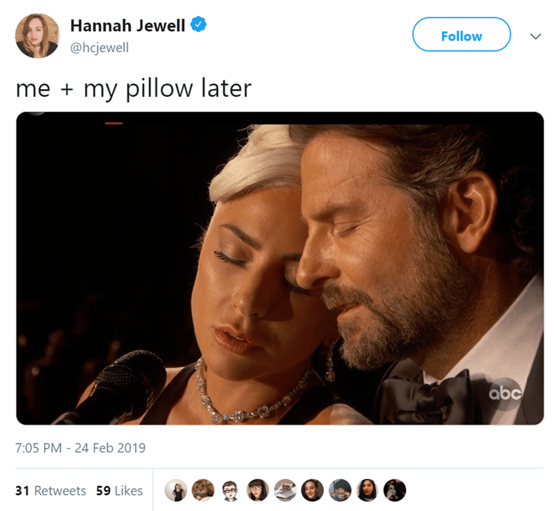 Face - Hannah Jewell Follow @hcjewell my pillow later me abc 7:05 PM 24 Feb 2019 31 Retweets 59 Likes