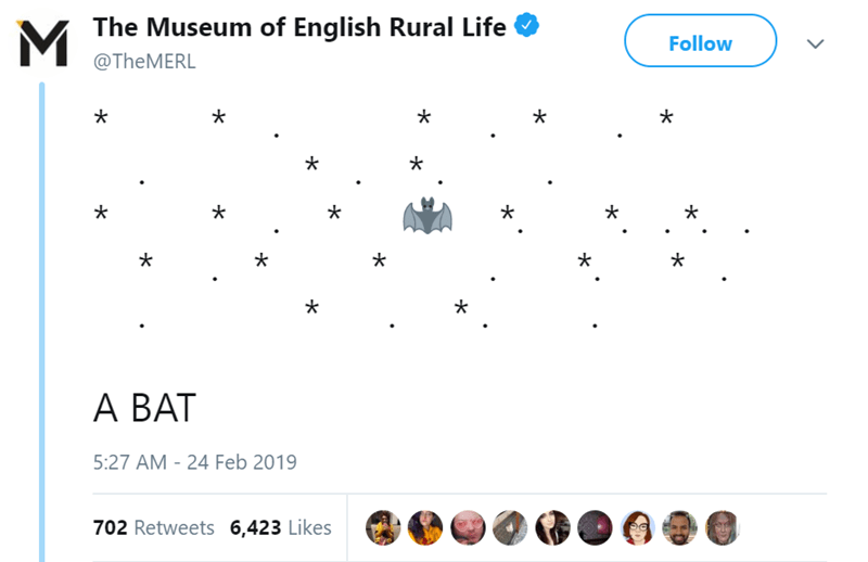 Text - The Museum of English Rural Life Follow @TheMERL A BAT 5:27 AM 24 Feb 2019 702 Retweets 6,423 Likes
