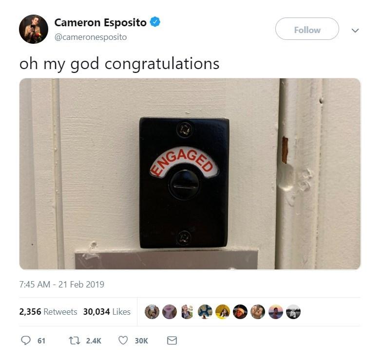 Product - Cameron Esposito Follow @cameronesposito oh my god congratulations AIGAGED 7:45 AM - 21 Feb 2019 2,356 Retweets 30,034 Likes t 2.4K 61 3ок