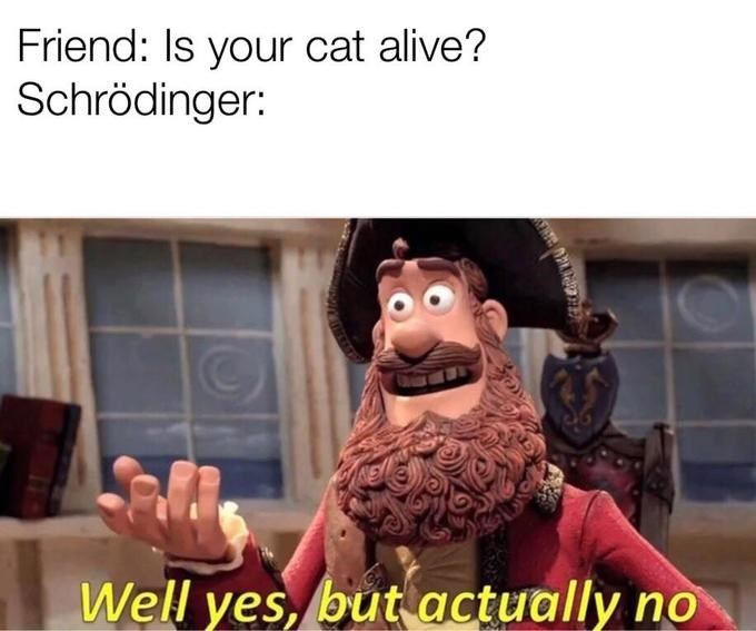 Yes But Actually No meme about Schrodinger's cat