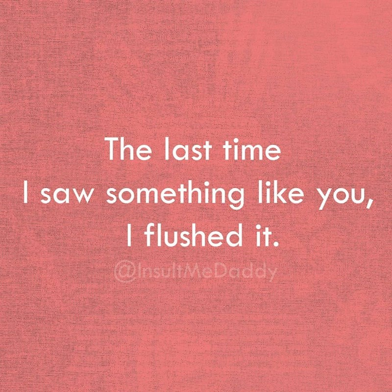 Text - The last time I saw something like you, I flushed it. @hsultMeDaddy