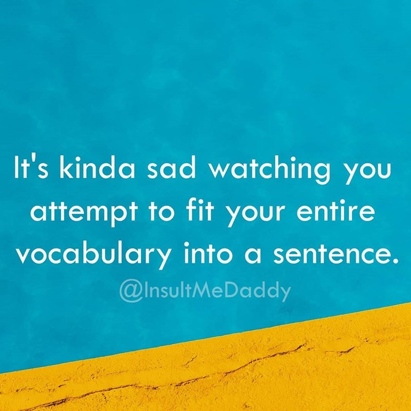 Text - It's kinda sad watching you attempt to fit your entire vocabulary into a sentence. @InsultMeDaddy
