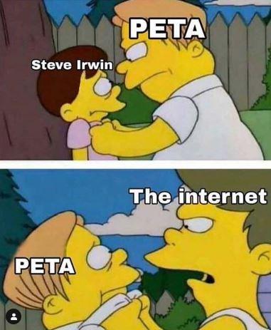 Cartoon - PETA Steve Irwin The internet PETA