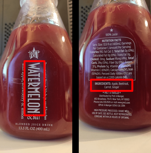 """Drink - 100% Juice NUTRITION FACTS Serv. Size: 13.5 fl oz (400mL) Servings Per Container 1, Amount Per Serving Calories 190, Fat Cal 0, Total Fat Og (0%), Saturated Fat Og (0%), Trans Fat Og. Cholest. Omg, Sodium 95mg (4%), Total Carb. 39g (13%), Fiber Og (0%), Sugars 37g. Protein 5q, Vitamin 21096DV), Vitamin C (6%DV), Calcium (4%DV), Iron (10%DV). Percent Daily Values (DV) are based on a 2,000 calorie diet PRET INGREDIENTS: Apple, Beetroot Carrot, Ginger αγαΤAΠΑΠ"""" Distributed by Pret A Manger"""