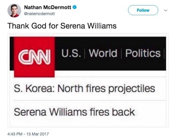 funny meme about Serena Williams fighting North Korea