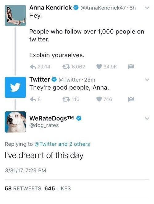 hilarious meme of the verified twitter account referencing a weratedogs tweet to Anna Kendrick