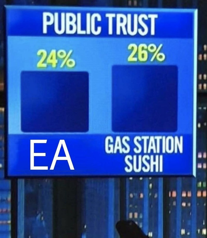 funny meme about gas station sushi being more trustworthy than ea