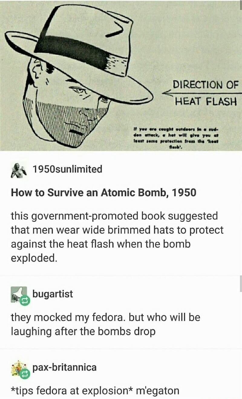 funny tumblr post drawing of man wearing hat DIRECTION OF HEAT FLASH If you are cought outdoors In a sud- den attack, het will glve you a teast seme protectlon from the 'heat Aash'. 1950sunlimited How to Survive an Atomic Bomb, 1950 this government-promoted book suggested that men wear wide brimmed hats to protect against the heat flash when the bomb exploded. bugartist they mocked my fedora. but who will be laughing after the bombs drop pax-britannica *tips fedora at explosion* m'egaton