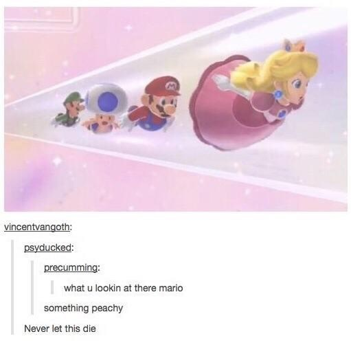 funny tumblr post mario characters flying behind each other what u lookin at there mario something peachy Never let this die