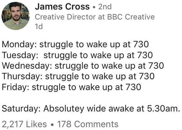 Text - James Cross 2nd Creative Director at BBC Creative 1d Monday: struggle to wake up at 730 Tuesday: struggle to wake up at 730 Wednesday: struggle to wake up at 730 Thursday: struggle to wake up at 730 Friday: struggle to wake up at 730 Saturday: Absolutey wide awake at 5.30am. 2,217 Likes 178 Comments
