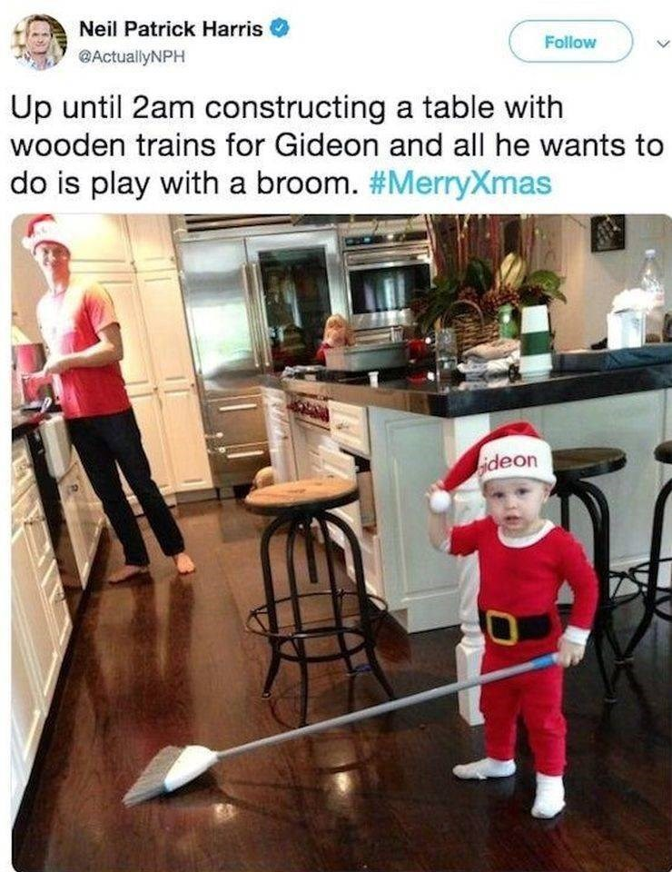 Floor - Neil Patrick Harris Follow @ActuallyNPH Up until 2am constructing a table with wooden trains for Gideon and all he wants to do is play with a broom. #MerryXmas lideon