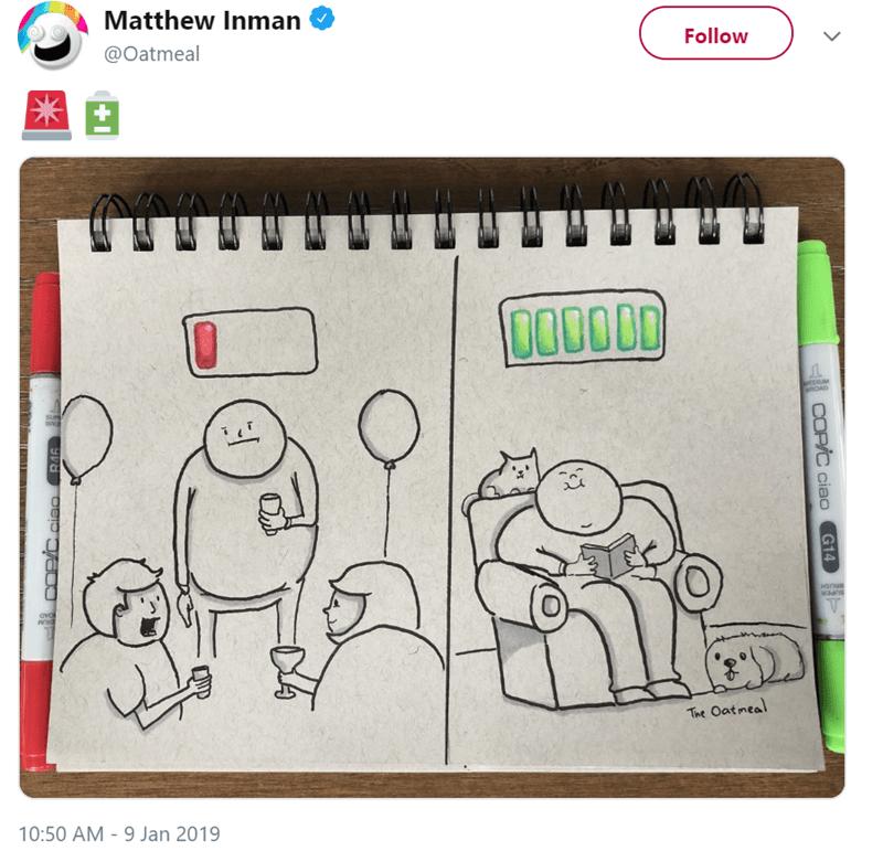 Cartoon - Matthew Inman Follow @Oatmeal + 000000 fnROAD SUP The Oatmeal 10:50 AM 9 Jan 2019 COP/C ciao G14 COP/C.ciao