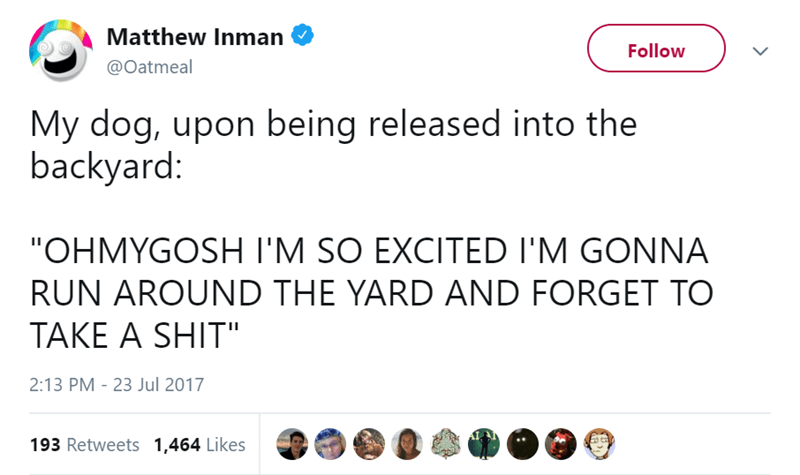 "Text - Matthew Inman Follow @Oatmeal My dog, upon being released into the backyard: ""OHMYGOSH I'M SO EXCITED I'M GONNA RUN AROUND THE YARD AND FORGET TO TAKE A SHIT"" 2:13 PM 23 Jul 2017 193 Retweets 1,464 Likes"