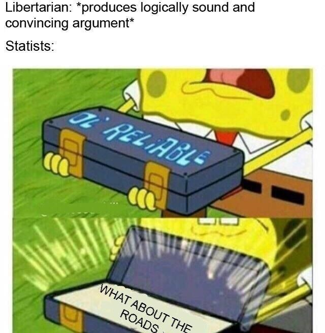 spongebob memes about libertarians and statists arguing