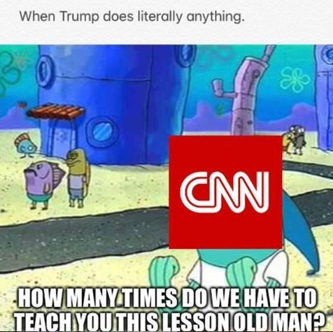 spongebob memes about CNN reporting Trump when he does anything