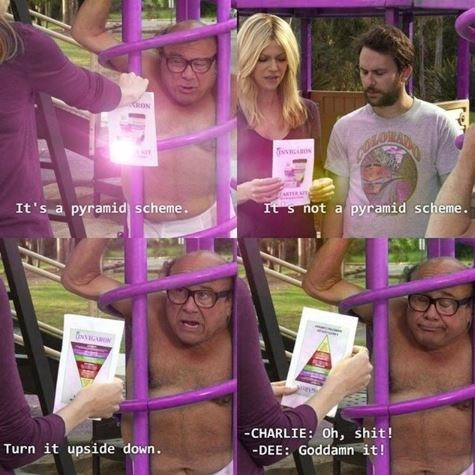 Product - OLAN It's a pyramid scheme. It s not a pyramid scheme. -CHARLIE: Oh, shit! Turn it upside down. DEE: Goddamn it!