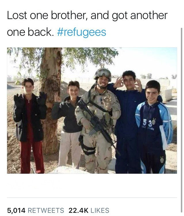 People - Lost one brother, and got another one back. #refugees 5 30 5,014 RETWEETS 22.4K LIKES