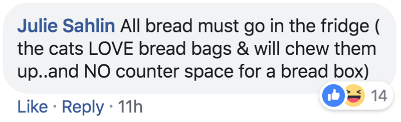 Text - Julie Sahlin All bread must go in the fridge ( the cats LOVE bread bags & will chew them up..and NO counter space for a bread box) 14 Like Reply 11h