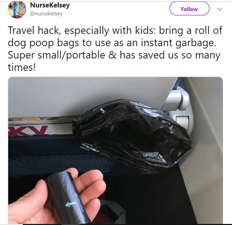 Product - NurseKelsey @nursekelsey Follow Travel hack, especially with kids: bring a roll of dog poop bags to use as an instant garbage. Super small/portable & has saved us so many times! OND OPEN THIS END