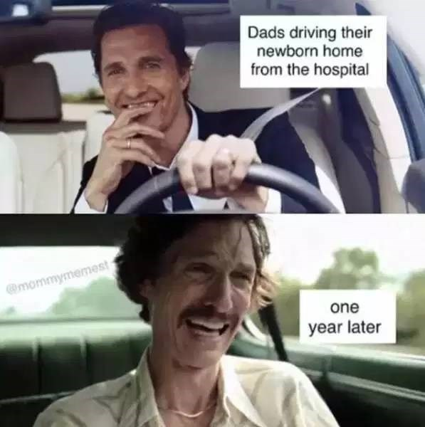 Facial expression - Dads driving their newborn home from the hospital mommymemest one year later