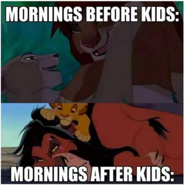 Cartoon - MORNINGS BEFORE KIDS: MORNINGS AFTER KIDS: