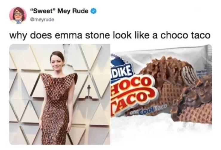 "Font - ""Sweet"" Mey Rude @meyrude why does emma stone look like a choco taco DIKE HOCO CACO one Cool Taco"