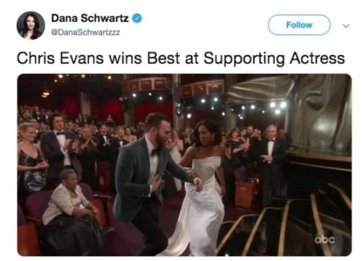 Photograph - Dana Schwartz Follow DanaSchwartzzz Chris Evans wins Best at Supporting Actress abc