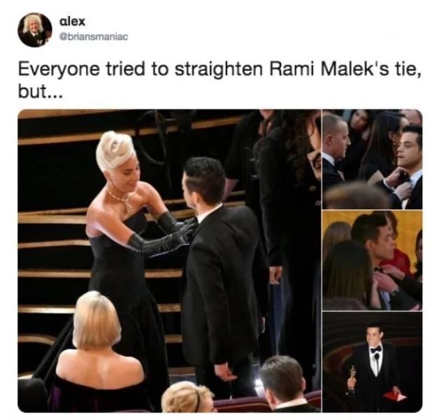 Event - alex @briansmaniac Everyone tried to straighten Rami Malek's tie, but...