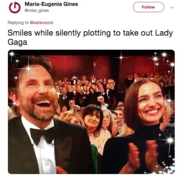 People - Maria-Eugenia Gines @miss gines Follow Replying to @katiecouric Smiles while silently plotting to take out Lady Gaga