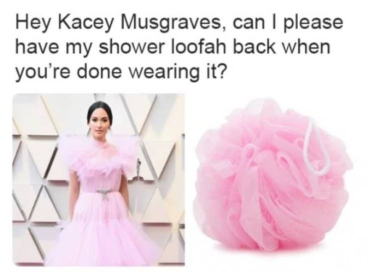 Pink - Hey Kacey Musgraves, can I please have my shower loofah back when you're done wearing it?