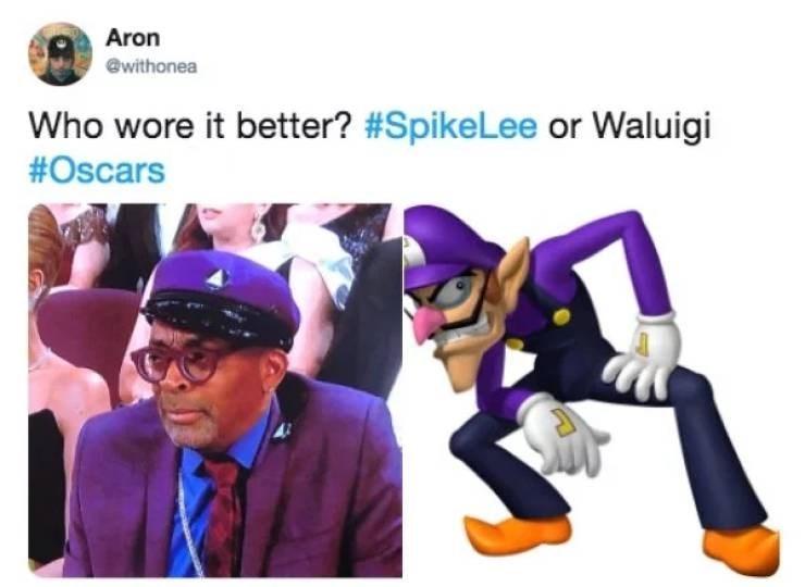 Purple - Aron @withonea Who wore it better? #SpikeLee or Waluigi #Oscars