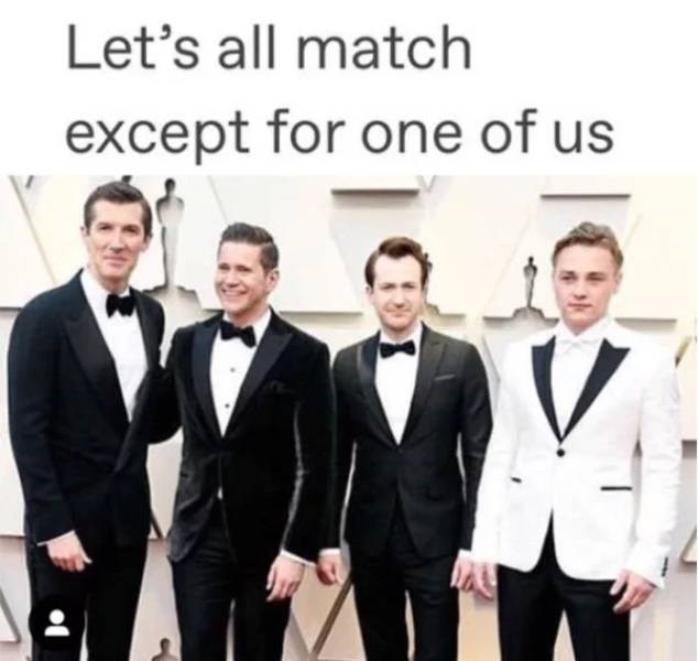 Suit - Let's all match except for one of us