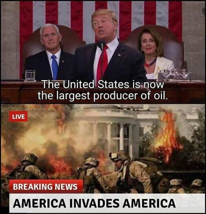 People - The United States is now the largest producer of oil. LIVE BREAKING NEWS AMERICA INVADES AMERICA