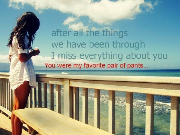 Text - after all the things we have been through I miss everything about you You were my favorite pair of pants...