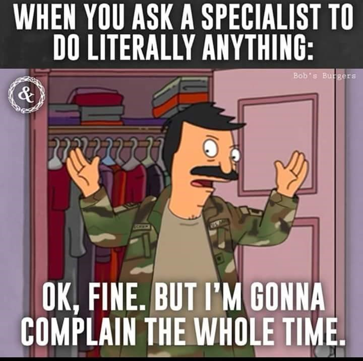 Cartoon - WHEN YOU ASK A SPECIALIST TO DO LITERALLY ANYTHING: Bob's Burgers & OK,FINE. BUT I'M GONNA COMPLAIN THE WHOLE TIME