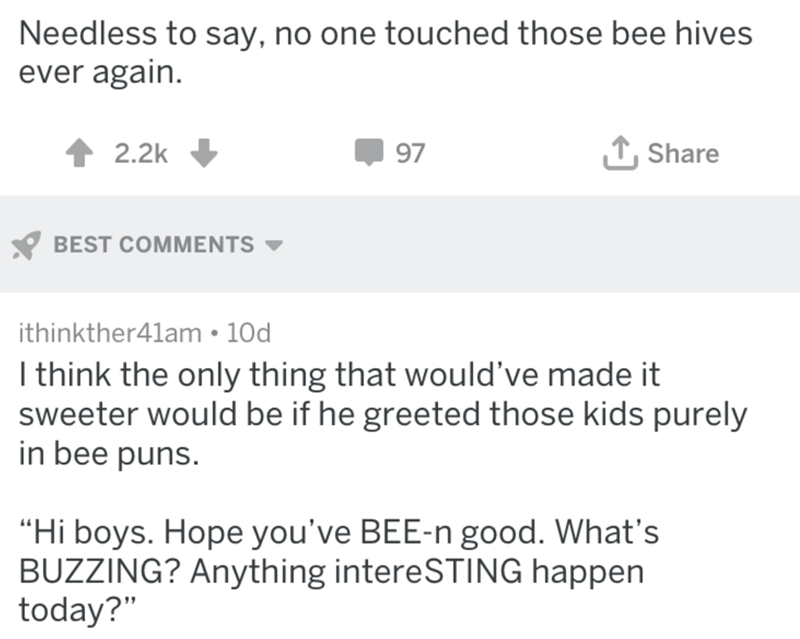 """Text - Needless to say, no one touched those bee hives ever again LShare 2.2k 97 BEST COMMENTS ithinkther41am 10d I think the only thing that would've made it sweeter would be if he greeted those kids purely in bee puns. """"Hi boys. Hope you've BEE-n good. What's BUZZING? Anything intereSTING happen today?"""""""
