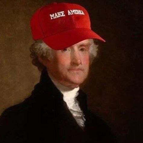 "Painting of George Washington photoshopped with a red hat that says ""Make America"""