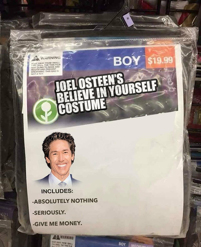 wholesome meme of a funny Joel Osteen costume