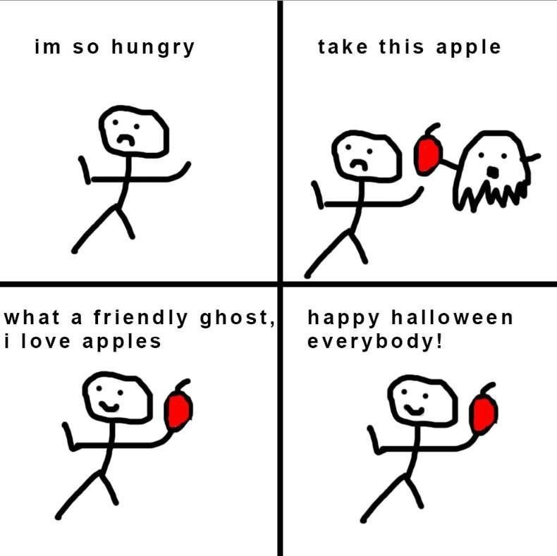 wholesome meme of a ghost giving someone an apple because they were hungry