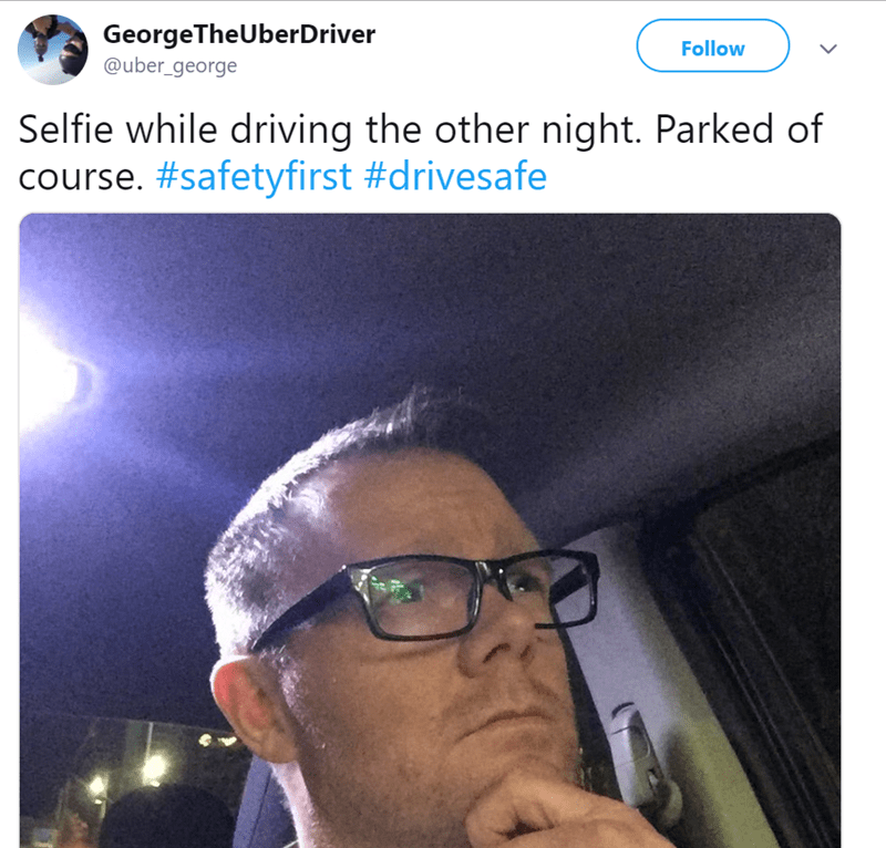 Sky - GeorgeTheUberDriver @uber_george Follow Selfie while driving the other night. Parked of course. #safetyfirst #drivesafe