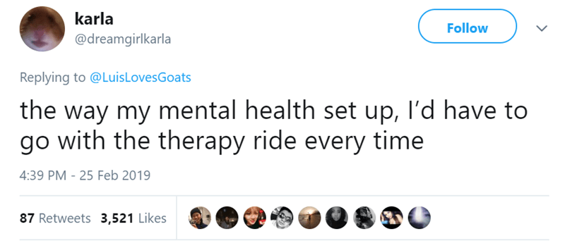Text - karla Follow @dreamgirlkarla Replying to @LuisLovesGoats the way my mental health set up, I'd have to go with the therapy ride every time 4:39 PM - 25 Feb 2019 87 Retweets 3,521 Likes