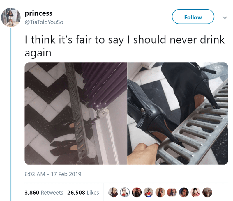 Product - princess Follow @TiaToldYouSo I think it's fair to say I should never drink again 6:03 AM - 17 Feb 2019 3,860 Retweets 26,508 Likes