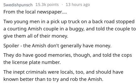 Text - Swedishpunsch 15.3k points 13 hours ago From the local newspaper.... Two young men in a pick up truck on a back road stopped a courting Amish couple in a buggy, and told the couple to give them all of their money. Spoiler - the Amish don't generally have money. They do have good memories, though, and told the cops the license plate number. The inept criminals were locals, too, and should have known better than to try and rob the Amish