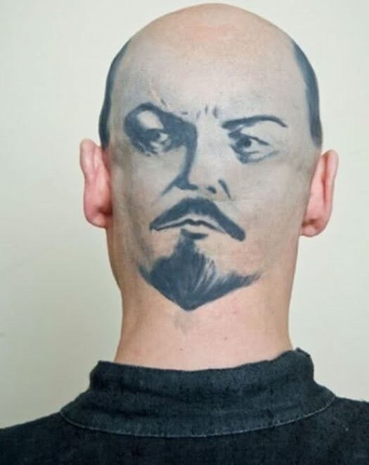 Pic of guy with Vladimir Lenin's face painted on the back of his head